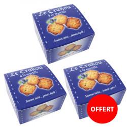 2 boîtes de crakou myrtille achetées, la 3ème offerte