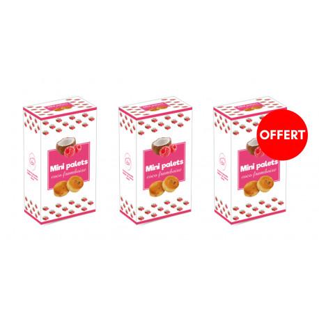 2 boîtes mini palets coco framboise , la 3 ème OFFERTE